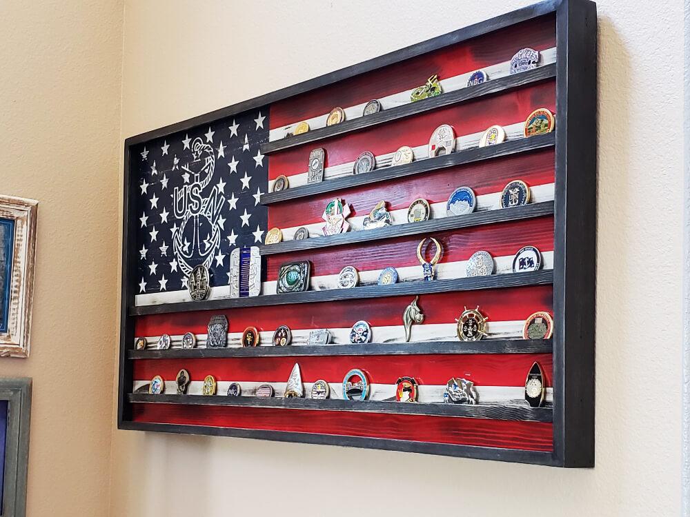 the rustic junkee-american flag challenge coin rack-custom2