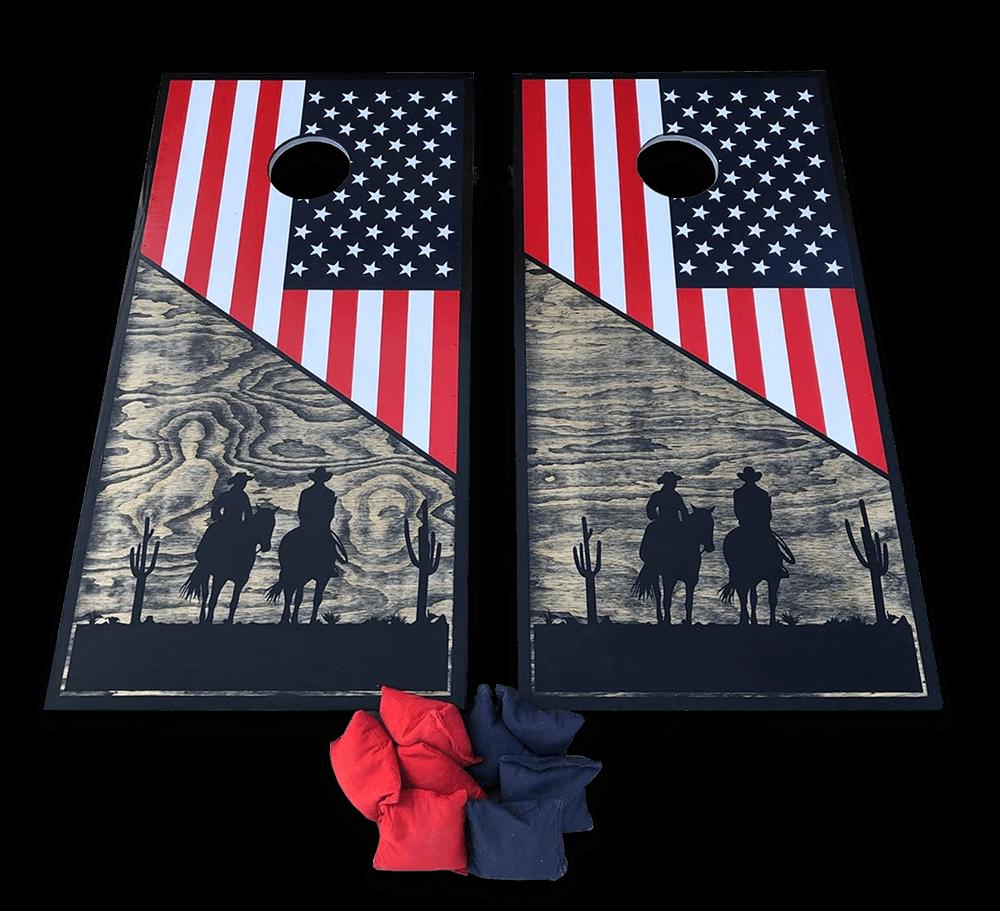 Custom handmade cornhole boards with American Flag design